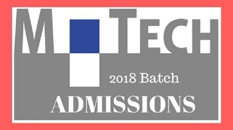 M.Tech Admission 2018